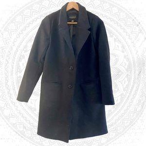 Revamped Long Wool Peacoat Black Trench Coat Warm